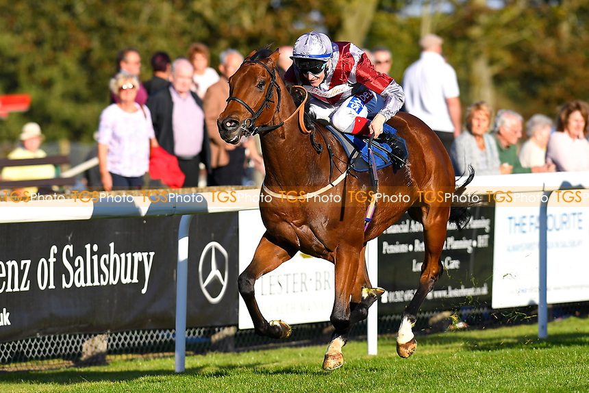 Winner of The Booker Ltd Handicap Stakes Beyond Equal ridden by Fran Berry and trained by Stuart Kittow during Afternoon Racing at Salisbury Racecourse on 3rd October 2018