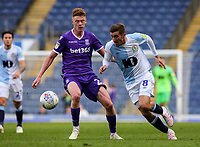 Blackburn Rovers' Joe Rothwell takes on Stoke City's Sam Clucas<br /> <br /> Photographer Alex Dodd/CameraSport<br /> <br /> The EFL Sky Bet Championship - Blackburn Rovers v Stoke City - Saturday 6th April 2019 - Ewood Park - Blackburn<br /> <br /> World Copyright © 2019 CameraSport. All rights reserved. 43 Linden Ave. Countesthorpe. Leicester. England. LE8 5PG - Tel: +44 (0) 116 277 4147 - admin@camerasport.com - www.camerasport.com