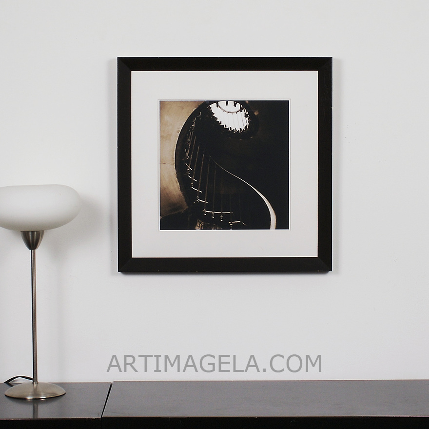 "D'Amore: ""Spiral Staircase"", Digital Print, Image Dims. 14"" x 14"", Framed Dims. 23.25"" x 23.25"" , film art"