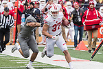Wisconsin Badgers running back Garrett Groshek (37) carries the ball an NCAA College Big Ten Conference football game against the Illinois Fighting Illini Saturday, October 28, 2017, in Champaign, Illinois. The Badgers won 24-10. (Photo by David Stluka)