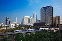 Monorail train heading into Bangkok, Thailand