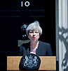 Theresa May <br /> Prime Minister <br /> makes a speech in Downing Street following a terrorist attack on the Finsbury Park Mosque 19th June 2017 <br /> <br /> Theresa May outside No. 10 Downing Street, London, Great Britain <br /> <br /> Photograph by Elliott Franks <br /> Image licensed to Elliott Franks Photography Services