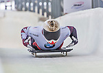 9 January 2016: Barrett Martineau, competing for Canada, crosses the finish line on his second run of the day during the BMW IBSF World Cup Skeleton Championships at the Olympic Sports Track in Lake Placid, New York, USA. Martineau ended the day with a combined 2-run time of 1:50.90 and a 12th place overall finish. Mandatory Credit: Ed Wolfstein Photo *** RAW (NEF) Image File Available ***