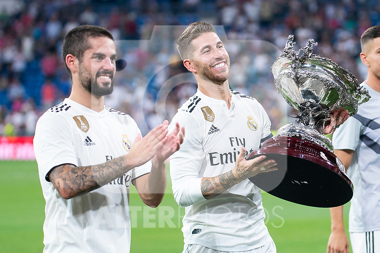 Real Madrid Fernando Alarcon 'Isco' and Sergio Ramos during Santiago Bernabeu Trophy match at Santiago Bernabeu Stadium in Madrid, Spain. August 11, 2018. (ALTERPHOTOS/Borja B.Hojas)