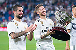 Real Madrid Fernando Alarcon 'Isco' and Sergio Ramos during Santiago Bernabeu Trophy match at Santiago Bernabeu Stadium in Madrid, Spain. August 11, 2018. (ALTERPHOTOS/Borja B.Hojas)