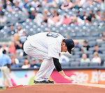Masahiro Tanaka (Yankees), JULY 9, 2015 - MLB : New York Yankees starting pitcher Masahiro Tanaka prepares to throw the ball during baseball game against the Oakland Athletics at Yankee Stadium in New York, United States. (Photo by AFLO)