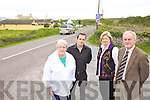 DANGEROUS: Residents of Fenit who want Kerry County Council to make the Kilfenora junction near the Tankard Bar safer for motorists, l-r: Anne O'Mahony, Enda O'Sullivan, Patricia O'Mahony, Cllr Pat McCarthy..