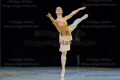 Natalia Polgari seventh year student of the Hungarian Dance Academy performs Diana's version of Diana and Actaeon choreographed by Agrippina Vaganova, music by Cesare Pugni during a gala performance held at the National Dance Theatre in Budapest, Hungary on February 27, 2013. ATTILA VOLGYI