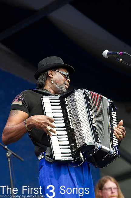 C.J. Chenier of the C.J. Chenier & the Red Hot Louisiana Band performs during the New Orleans Jazz & Heritage Festival in New Orleans, LA.