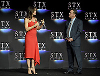 LAS VEGAS, NV - APRIL 24: Jennifer Garner (L) and Chairman of STXfilms Adam Fogelson onstage during the STX Films presentation at CinemaCon 2018 at The Colosseum at Caesars Palace on April 24, 2018 in Las Vegas, Nevada. (Photo by Frank Micelotta/PictureGroup)