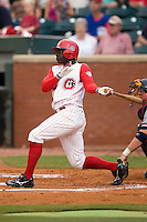 Chattanooga center fielder Marland Williams (22) follows through on his swing versus Mississippi at AT&T Field in Chattanooga, TN, Wednesday, July 26, 2007.