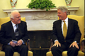 United States President Bill Clinton meets with President Eduard Shevardnadze of Georgia in the Oval Office of the White House in Washington, D.C, September 23, 1999.  Shevardnadze passed away on July 7, 2014 at age 86.<br /> Credit: The White House / CNP