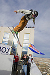 J.T.Holmes launches his second urban Ski-BASE jump off the roof of the Silver Legacy hotel casino in downtown Reno, Nev., Saturday Nov. 17, 2007. The stunt was to promote the local premier of the 2007 Warren Miller ski movie Playground and to raise money for the Make-a-Wish foundation, which helps make wishes come true for seriously ill children.