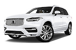 Stock pictures of low aggressive front three quarter view of 2015 Volvo XC90 Inscription7 5 Door SUV Low Aggressive
