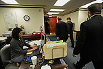 Beleaguered Illinois Governor Rod Blagojevich returns to his office in the state capitol after speaking in his own defense at his impeachment hearing at the state capitol in Springfield, Illinois on January 29, 2009.