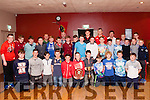 Abbeyfeale U14 team who won the League and Cup pictured with Munster players Jack O' Donoghue & Robin Copeland.