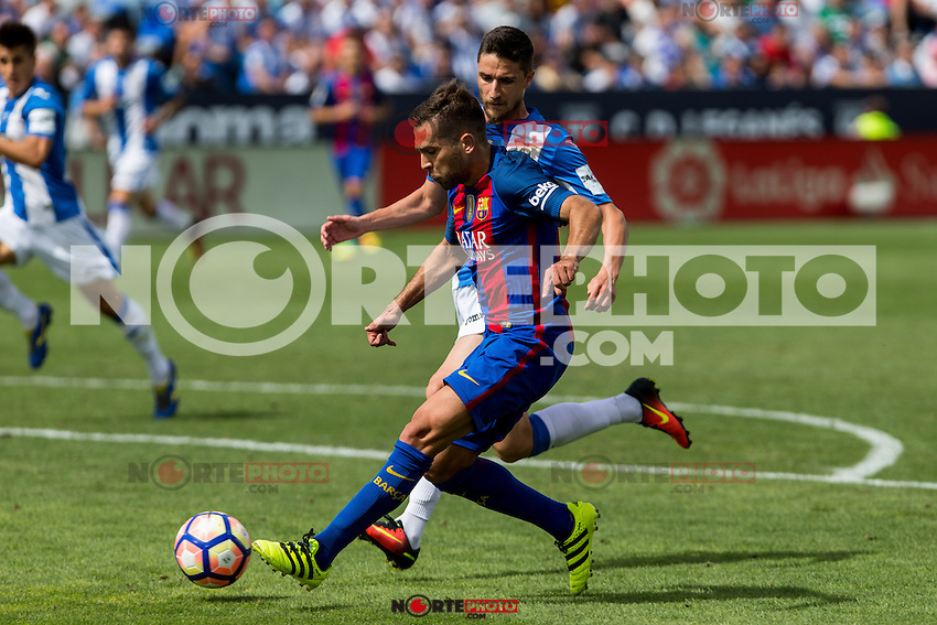 FC Barcelona's Jordi Alba during the match of La Liga between Club Deportivo Leganes and Futbol Club Barcelona at Butarque Estadium in Leganes. September 17, 2016. (ALTERPHOTOS/Rodrigo Jimenez) /NORTEPHOTO