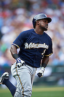 Milwaukee Brewers second baseman Elian Herrera (3) during a game against the Chicago Cubs on August 13, 2015 at Wrigley Field in Chicago, Illinois.  Chicago defeated Milwaukee 9-2.  (Mike Janes/Four Seam Images)