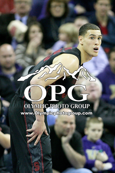 February 12, 2014:   Stanford's Dwight Powell against Washington.  Washington defeated Stanford 64-60 at Alaska Airlines Arena in Seattle, Washington.
