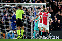 Daley Blind and Joel Veltman of Ajax show their frustration with match referee, Gianluca Rocchi during Chelsea vs AFC Ajax, UEFA Champions League Football at Stamford Bridge on 5th November 2019