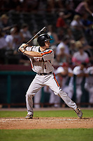 Aberdeen IronBirds shortstop Adam Hall (1) at bat during a game against the Tri-City ValleyCats on August 27, 2018 at Joseph L. Bruno Stadium in Troy, New York.  Aberdeen defeated Tri-City 11-5.  (Mike Janes/Four Seam Images)