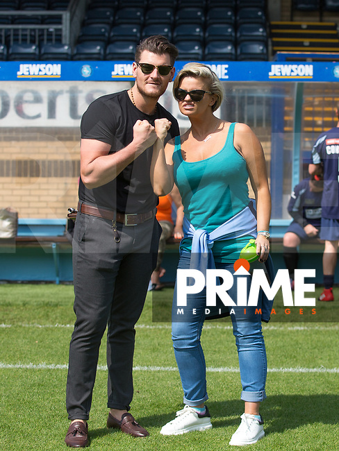 Managers Matt Lapinskas & Kerry Katona during the Sellebrity Soccer match for Wycombe Sports & Education Trust at Wycombe Wanderers, Adams Park, High Wycombe, England on 28 May 2018. Photo by Andy Rowland.