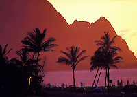 Sunset at Makana point, know to many as Bali hai, north shore, island of Kauai, as viewed from Princeville Resort.