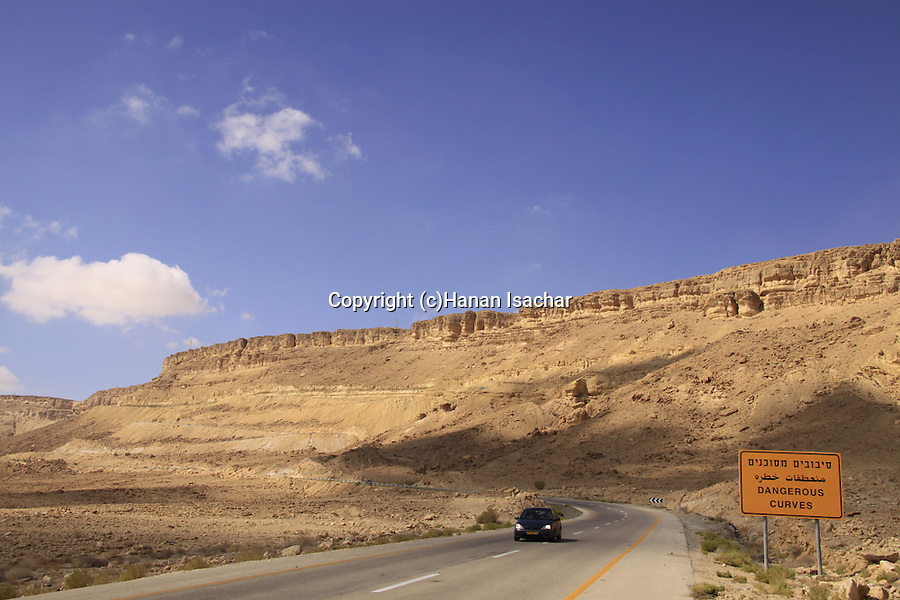 Israel, Negev, Route 40 in Ramon Crater