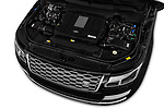Car stock 2018 Land Rover Range Rover Autobiography Select Doors Door SUV engine high angle detail view