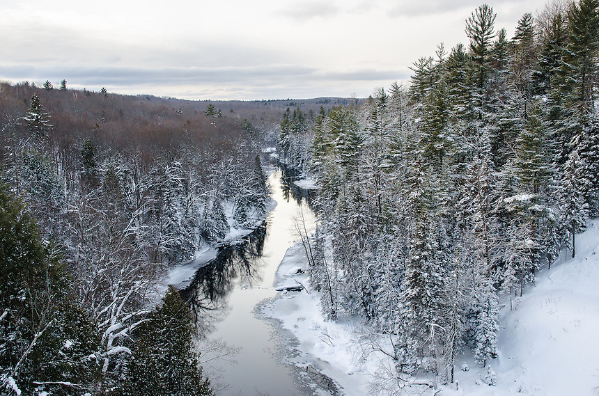A wintery view from the County Road 510 bridge in Negaunee, MI.