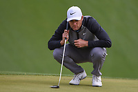 Lucas Bjerregaard (DEN) lines up his putt on 18 during day 4 of the WGC Dell Match Play, at the Austin Country Club, Austin, Texas, USA. 3/30/2019.<br /> Picture: Golffile | Ken Murray<br /> <br /> <br /> All photo usage must carry mandatory copyright credit (© Golffile | Ken Murray)