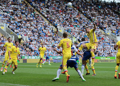 22.08.2015. Reading, England. Skybet Championship. Reading versus MK Dons. Dean Bowditch of MK Dons heads over the bar from a corner
