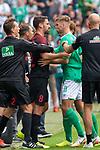 01.09.2019, wohninvest Weserstadion, Bremen, GER, 1.FBL, Werder Bremen vs FC Augsburg, <br /> <br /> DFL REGULATIONS PROHIBIT ANY USE OF PHOTOGRAPHS AS IMAGE SEQUENCES AND/OR QUASI-VIDEO.<br /> <br />  im Bild<br /> <br /> foul Stephan Lichtsteiner (FC Augsburg #03) an Davy Klaassen (Werder Bremen #30) Soeren Storks  (Schiedsrichter / referee) gelbe karte <br /> <br /> Rani Khedira (FC Augsburg #08)<br /> Niclas Füllkrug / Fuellkrug (Werder Bremen #11)<br /> <br /> Foto © nordphoto / Kokenge