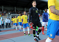 Brazil and Crystal Palace goalkeeper, Lucas Perri, proudly walks onto the pitch ahead of kick-off during France Under-18 vs Brazil Under-20, Tournoi Maurice Revello Football at Stade d'Honneur Marcel Roustan on 5th June 2019