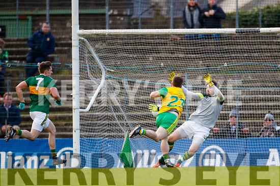 Darrach O'Connor Donegal scores his side's third goal in the Allianz Football League Division 1 Round 1 match between Kerry and Donegal at Fitzgerald Stadium in Killarney, Co. Kerry.