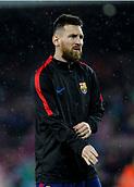 4th November 2017, Camp Nou, Barcelona, Spain; La Liga football, Barcelona versus Sevilla; Leo Messi warms up during the heavy rain