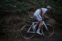 CX world champion Wout Van Aert (BEL/Crelan-Charles) up the Koppenberg cobbles<br /> <br /> Elite Men's race<br /> Koppenbergcross / Belgium 2017