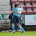 Forfar's Darren Dods is congratulated after he scores their first goal.