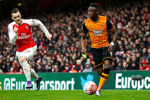 20.02.2016. The Emirates, London, England. Emirates FA Cup 5th Round. Arsenal versus Hull City. Moses Odubajo of Hull goes past Calum Chambers of Arsenal.