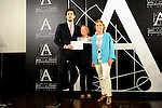 Spanish actor Miki Esparbe (L), the acting president Yvonne Blake (C) and public notary Eva Sanz del Real (R)  during the reading of the selected movie to represent Spain at the Oscars in Madrid. September 07, 2016. (ALTERPHOTOS/Borja B.Hojas)