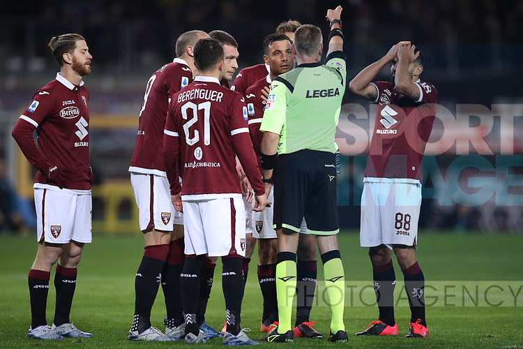 The referee Paolo Valeri invites Armando Izzo of Torino FC to leave the field of play after showing him a red card for a foul in the penalty area on Fabio Quagliarella of Sampdoria during the Serie A match at Stadio Grande Torino, Turin. Picture date: 8th February 2020. Picture credit should read: Jonathan Moscrop/Sportimage
