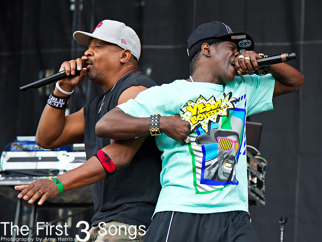 Chuck D. and Flavor Flav of Public Enemy perform during the 2013 Budweiser Made in America Festival in Philadelphia, Pennsylvania.