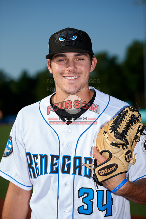 Hudson Valley Renegades pitcher Nick Lee (34) poses for a photo before a game against the Tri-City ValleyCats on August 24, 2018 at Dutchess Stadium in Wappingers Falls, New York.  Hudson Valley defeated Tri-City 4-0.  (Mike Janes/Four Seam Images)