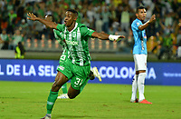 MEDELLÍN-COLOMBIA, 18-08-2019: Andrés Reyes de Atlético Nacional, corre a celebrar el gol anotado de su equipo a Unión Magdalena, durante partido de la fecha 6 entre Atlético Nacional y Unión Magdalena, por la Liga Águila II 2019, jugado en el estadio Atanasio Girardot de la ciudad de Medellín. / Andres Reyes of Atletico Nacional runs to celebrate the scored goal from his team to Union Magdalena, during a match of the 6th date between Atletico Nacional and Union Magdalena, for the Aguila Leguaje II 2019 played at the Atanasio Girardot Stadium in Medellin city. / Photo: VizzorImage / León Monsalve / Cont.