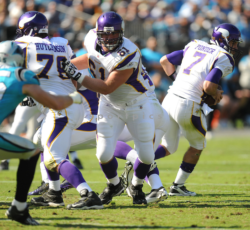 JOE BERGER, of the Minnesota Vikings in action during the Vikings game against the Carolina Panthers on October 30, 2011 at Bank of America Stadium in Charlotte, NC. The Vikings beat the Panthers 24-21.