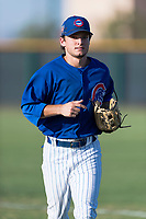 AZL Cubs 1 left fielder Dalton Hurd (30) jogs off the field between innings of an Arizona League game against the AZL Indians 1 at Sloan Park on August 27, 2018 in Mesa, Arizona. The AZL Cubs 1 defeated the AZL Indians 1 by a score of 3-2. (Zachary Lucy/Four Seam Images)