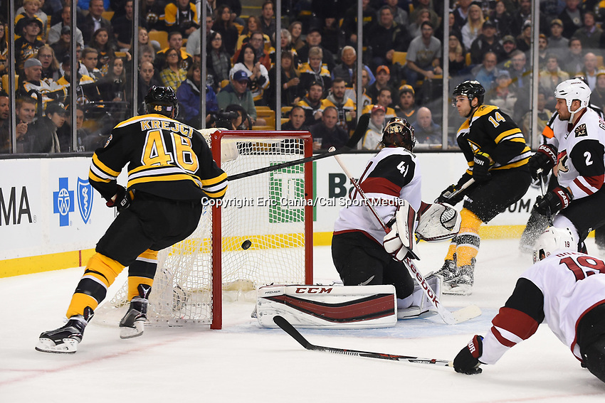 Tuesday, October 27, 2015: Boston Bruins center David Krejci (46) scores in the first period against Arizona Coyotes goalie Mike Smith (41) during the National Hockey League game between the Arizona Coyotes and the Boston Bruins held at TD Garden, in Boston, Massachusetts. Eric Canha/CSM