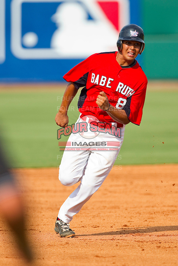Rio Ruiz #8 of Babe Ruth hustles towards third base against AABC at the 2011 Tournament of Stars at the USA Baseball National Training Center on June 26, 2011 in Cary, North Carolina.  Babe Ruth defeated AABC 3-2 in the Gold Medal game. (Brian Westerholt/Four Seam Images)