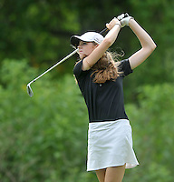 NWA Democrat-Gazette/MICHAEL WOODS &bull; @NWAMICHAELW<br /> Bentonville's Kate Robertson watches her drive during Bentonville's  golf match against Har-Ber Tuesday August 18, 2015, at the Berksdale Golf Course in Bella Vista.