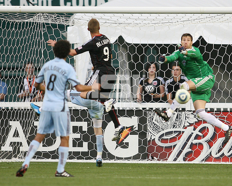 Danny Allsopp #9 of D.C. United has his header saved by Matt Pickens #18 of the Colorado Rapids during an MLS match on May 15 2010, at RFK Stadium in Washington D.C. Colorado won 1-0.